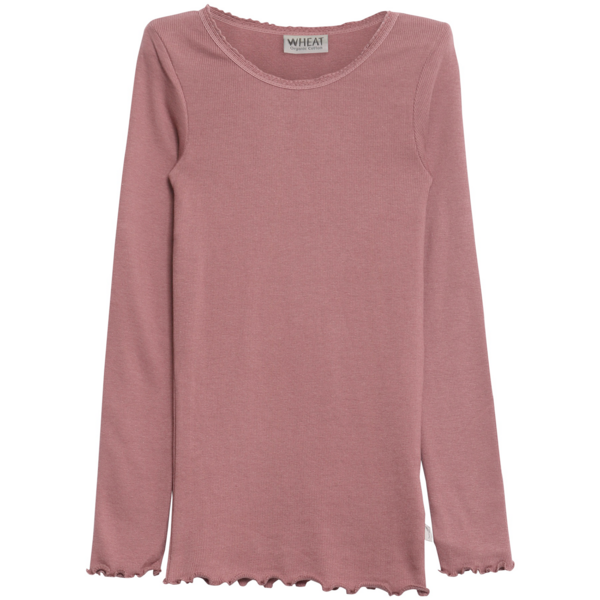 Wheat Plum Rib T-shirt Lace LS
