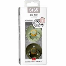 Bibs Colour Latex Pacifiers 2-pak Round Sage/Hunter Green