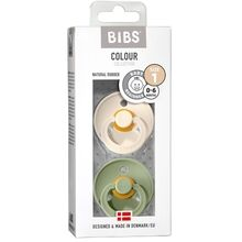 Bibs Colour Latex Pacifiers 2-pak Round Vanilla/Dark Oat