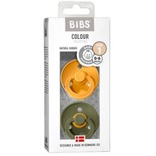 Bibs Colour Latex Pacifiers 2-pak Round Honey Bee/Olive