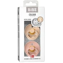 Bibs Colour Latex Pacifiers 2-pak Round Vanilla/Blush