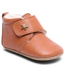 Bisgaard Indoor Shoes Velcro Star Cognac Wool