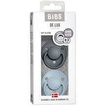 Bibs De Lux Silikone Pacifiers 2-pak Round Iron/Baby Blue