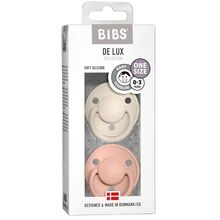 Bibs De Lux Silikone Pacifiers 2-pack Round Ivory/Blush
