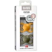 Bibs Couture Silikone Pacifiers 2-pak Anatomical Honey Bee/Olive