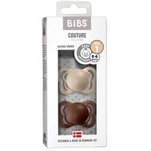 Bibs Couture Latex Pacifiers 2-pak Anatomical Vanilla/Mocha