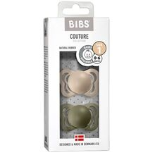 Bibs Couture Latex Pacifiers 2-pak Anatomical Vanilla/Olive