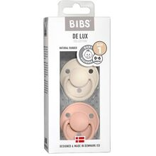 Bibs De Lux Latex Pacifiers 2-pack Round Ivory/Blush