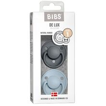Bibs De Lux Latex Pacifiers 2-pak Round Iron/Baby Blue