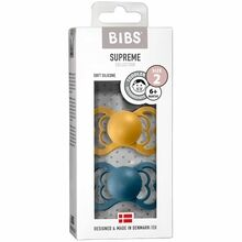 Bibs Supreme Silicone Pacifier 2-pack Symmetrical Mustard/Petrol