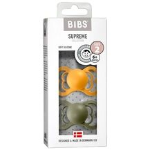 Bibs Supreme Silicone Pacifier 2-pack Symmetrical Honey Bee/Olive