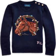 Polo Ralph Lauren Girl Knit Sweater Floral Horse Navy