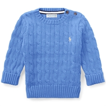 Ralph Lauren Baby Boy Long Sleeved Cable Knit Sweater Harbor Island Blue