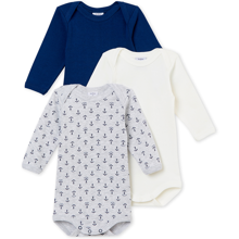 Petit Bateau Bodies ML Lot 3 Blue/ White/ Grey Print