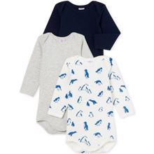 Petit Bateau Bodies ML 3 Pack White/Blue/Grey