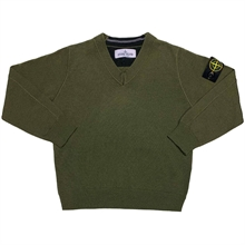 Stone Island Junior Knit Wool Army Green V-neck