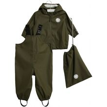 Wheat Rain Jacket and Overall Army Leaf