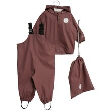Wheat Rain Jacket and Overall Plum