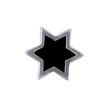 Design Letters Star Charm Sterling Silver Black
