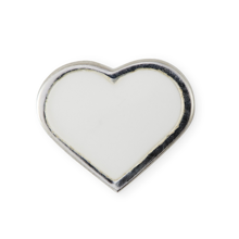 Design Letters Heart Charm Sterling Silver White