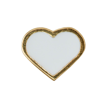 Design Letters Heart Charm Gold Plated Silver White