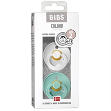 Bibs Colour Latex Pacifiers 2-pak Round Mint/White