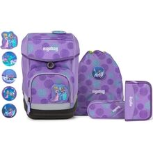 Ergobag Glow Cubo School Bag Set SleighBear Purple Ice Flowers