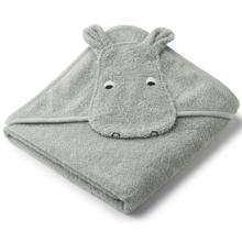 Liewood Albert Hooded Towel Hippo Dove Blue