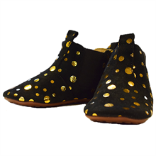 Pom Pom Indoor Shoes Black W. Gold Dots