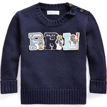 Ralph Lauren Baby Boy Cable Knit Sweater Navy Teddy