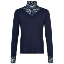 The-new-olace-tee-longe-sleeve-bluse-blonder-blaa-navy-lange-aermer-front