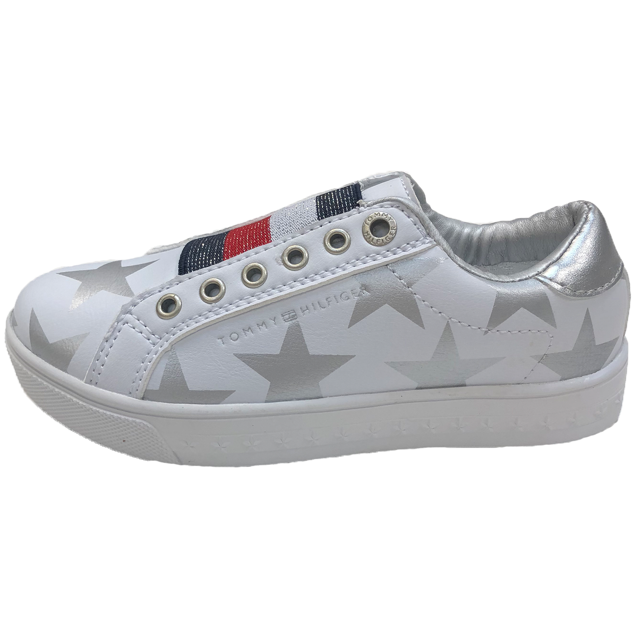 Tommy Hilfiger Scarpa Stampa Stelle Velcro Sneakers Bianco Arge 644b37a7b88