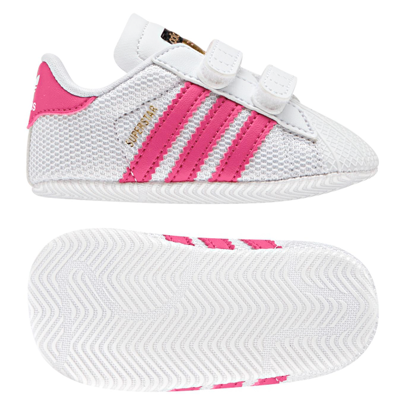 adidas Originals White and Pink Superstar Crib Trainers