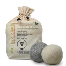 Cocoon Organic Laundry Wool Dryer Balls Set of 4