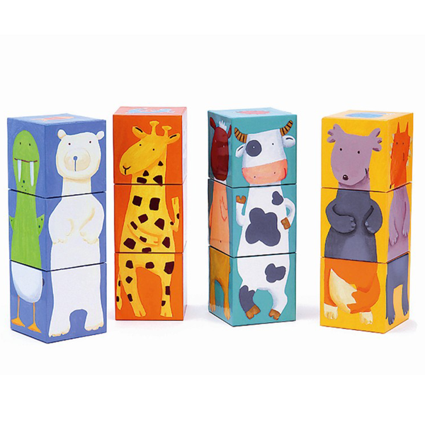 Djeco Wooden Colour Animals Blocks