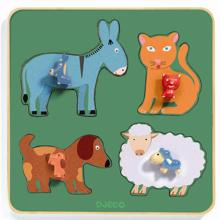 Djeco Puzzle Large Buttons Family Farm