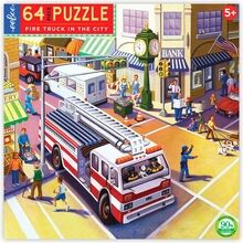 Eeboo Puzzle 64 Pieces - Firetruck in the City