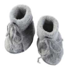 Engel Baby Booties w. Ribbon Grey Melange