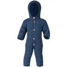 Engel Hooded Overall w. Buttons Blue Mélange