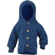 Engel Hooded Jacket with Wooden Buttons Blue Mélange
