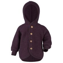 Engel Hooded Jacket with Wooden Buttons Lilac Mélange