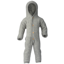 Engel Hooded Overall w. Buttons Light Grey Melange