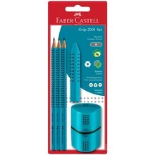 Faber Castell Grip 2001 Pencils+Twin Sharpener Turquoise
