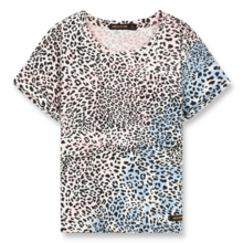 Finger In The Nose New Britney Knitted Short Sleeves T-shirt Wave Blue/Pink Leopard