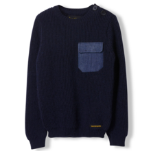 Finger In The Nose Rudy Knitted Round Neck Jumper Slate Blue