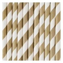 My Little Day 25 Paper Straws (golden stribes)