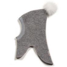 Huttelihut Elefanthue Light Grey/White Pompom