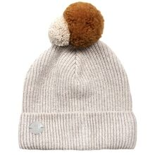 Huttelihut Hat Patent Knitted Fold Up Pom Pom White/Curry