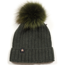 Huttelihut Hat Rib Fold Up W/Fake  Fur Army/Army Pompom