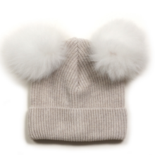 Huttelihut Hat Rib Fold Up Fur White/White Pompom